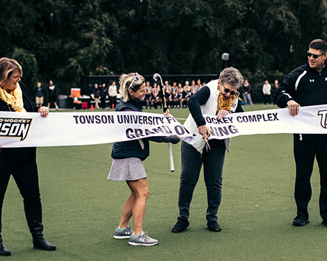 President Schatzel at field hockey groundbreaking