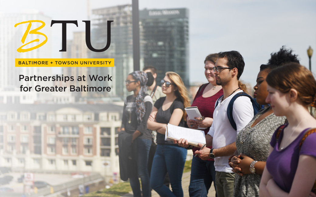 Baltimore plus TU: Partnerships at Work for Greater Baltimore; image of students in downtown Baltimore