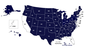 image of approved SARA states noted in blue. Forty-seven states and the U.S. Virgin Islands are approved SARA participants. The following states and territories do not participate in SARA: California, the Commonwealth of the Northern Mariana Islands, Florida, Massachusetts, and Puerto Rico.