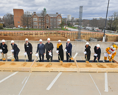 President Schatzel and TU affiliate members shown at the breaking ground ceremony for the new science complex.