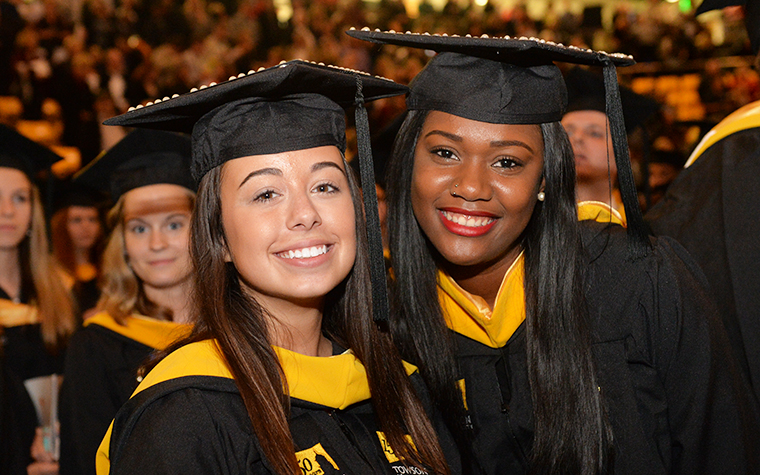 Towson University students at their commencement ceremony