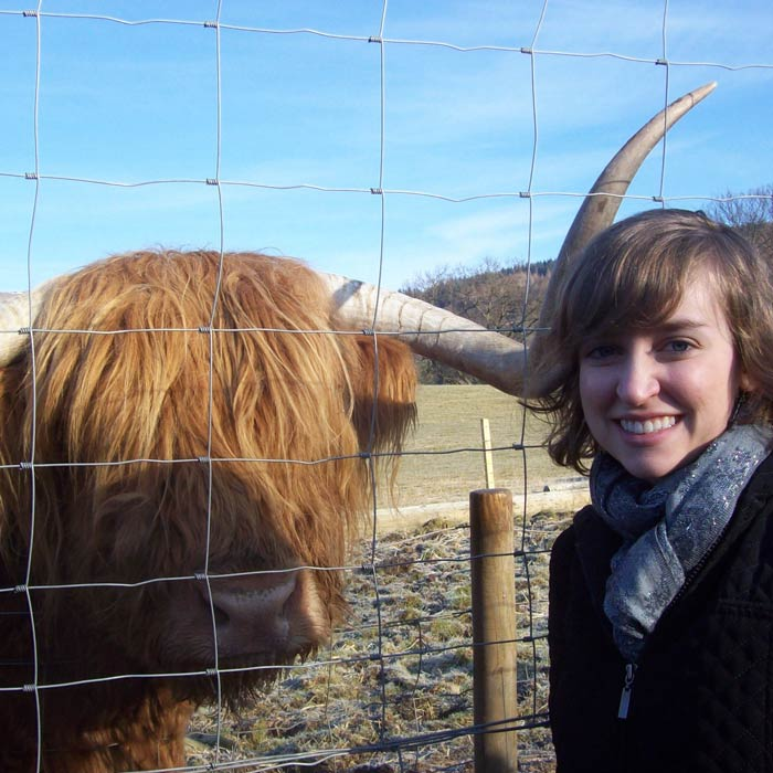 Student with Scottish cow