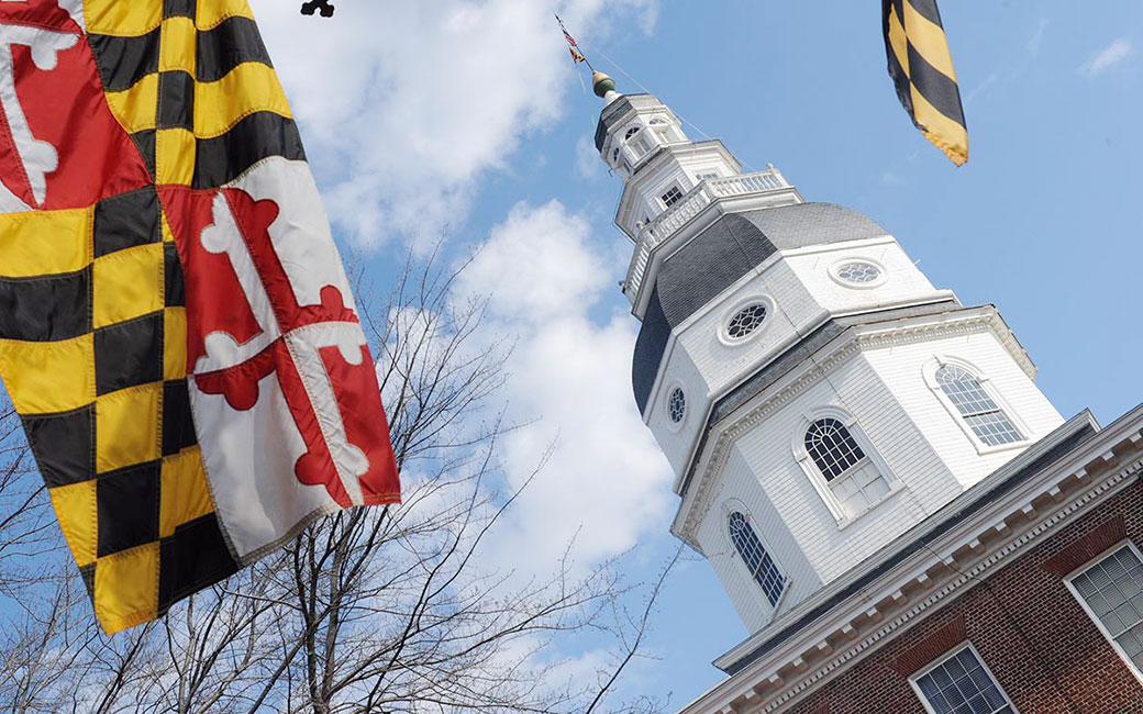 Maryland flag by state capitol