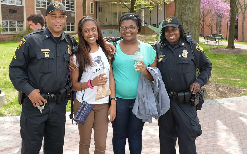 police officers with students