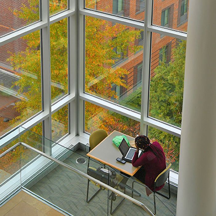 student working at table by windows in West Village Commons