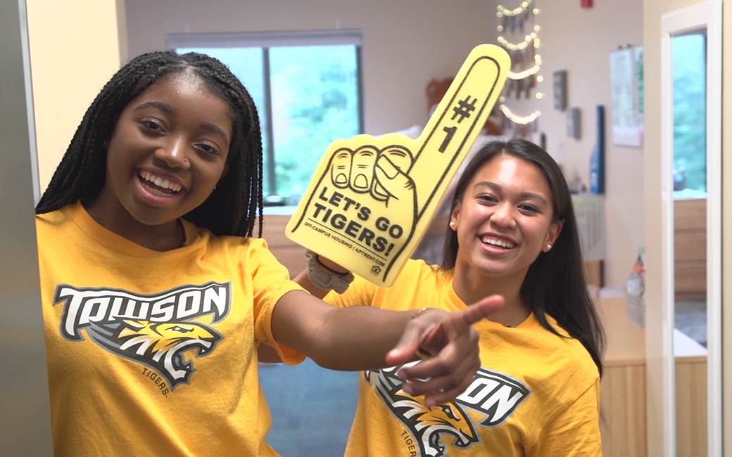 Video of two female students celebrating Let's go Tigers