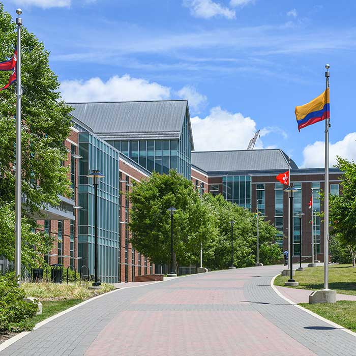 screenshot of virtual tour with guide and stephens hall