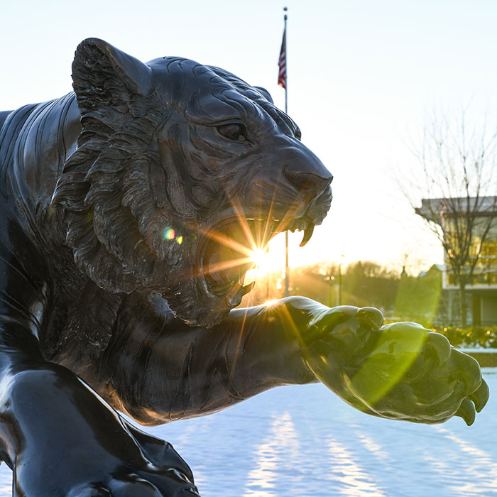 Tiger Statue Infront of Burdick