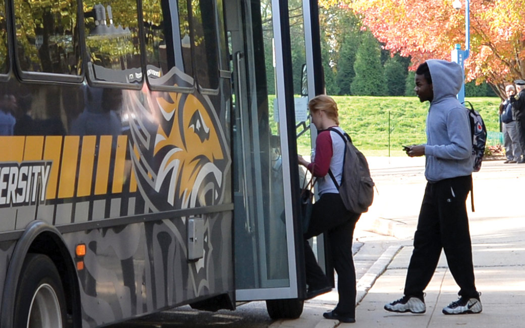 Students boarding TU shuttle