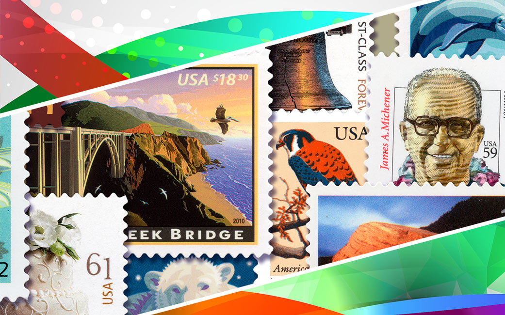 Postal Stamp Collage