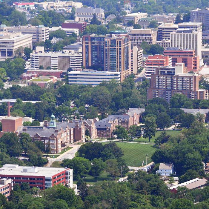 Aerial view of the TU and Towson
