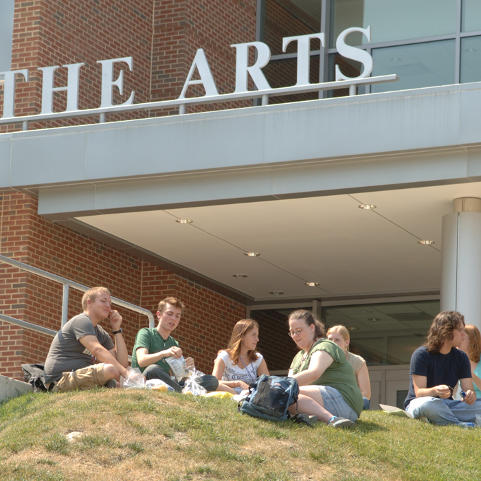 Students outside the Center for the Arts