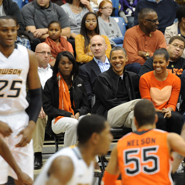President Obama attending Men's Basketball game