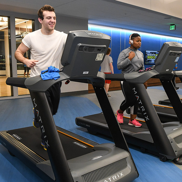 Students on treadmills in Burdick Hall