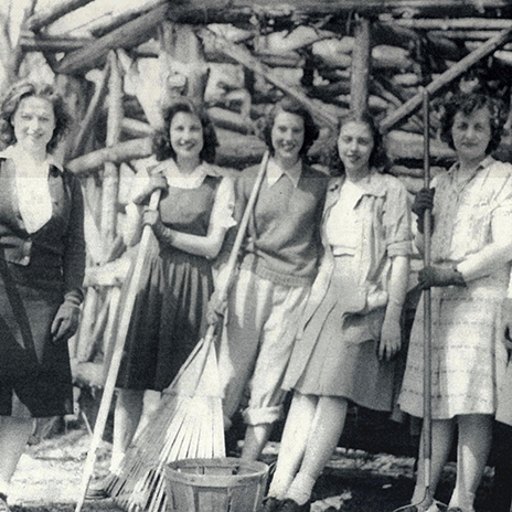 Student workers from the 1940s or 1950s.
