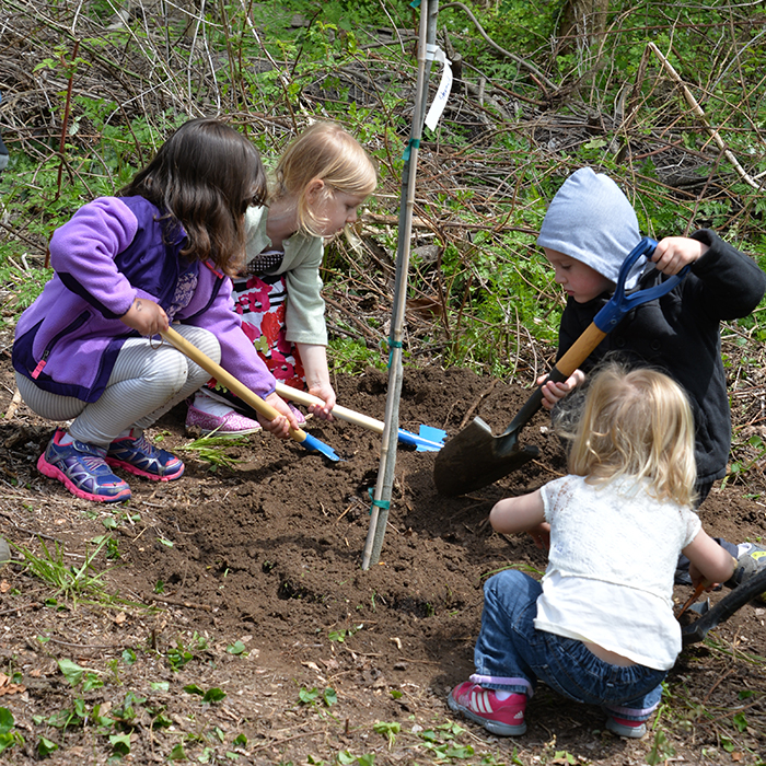 Children planting trees in the Glen Arboretum