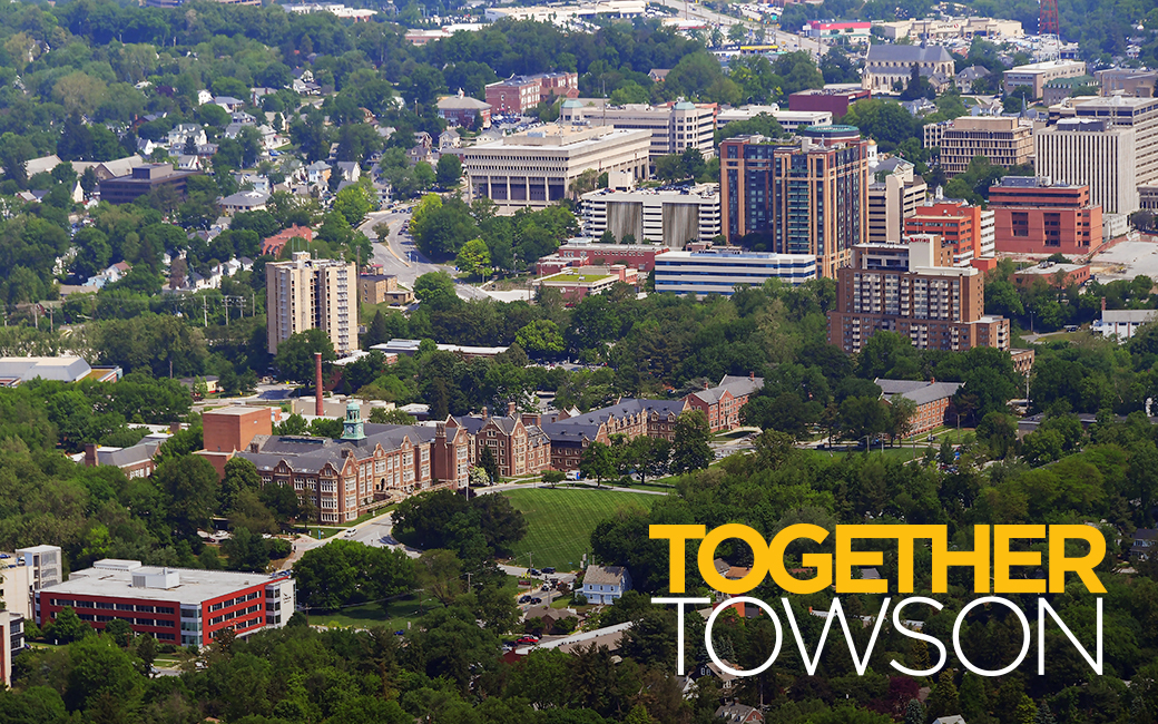 Together Towson: aerial of TU and nearby community