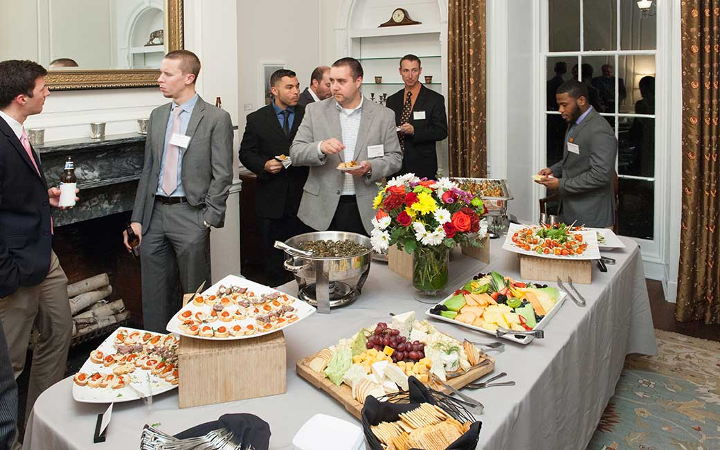 the spread of food at the accounting alumni event.