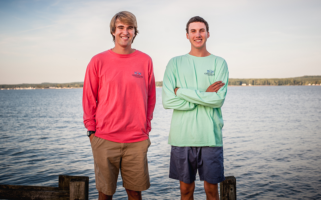 Kevin Ames and Matthew Wilmer standing near the Chesapeake Bay