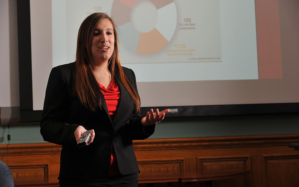 Towson business student delivering a presentation