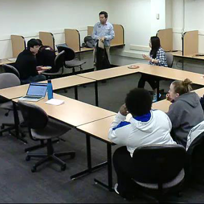 snapshot from a focus group session in Towson University's Behavioral Lab