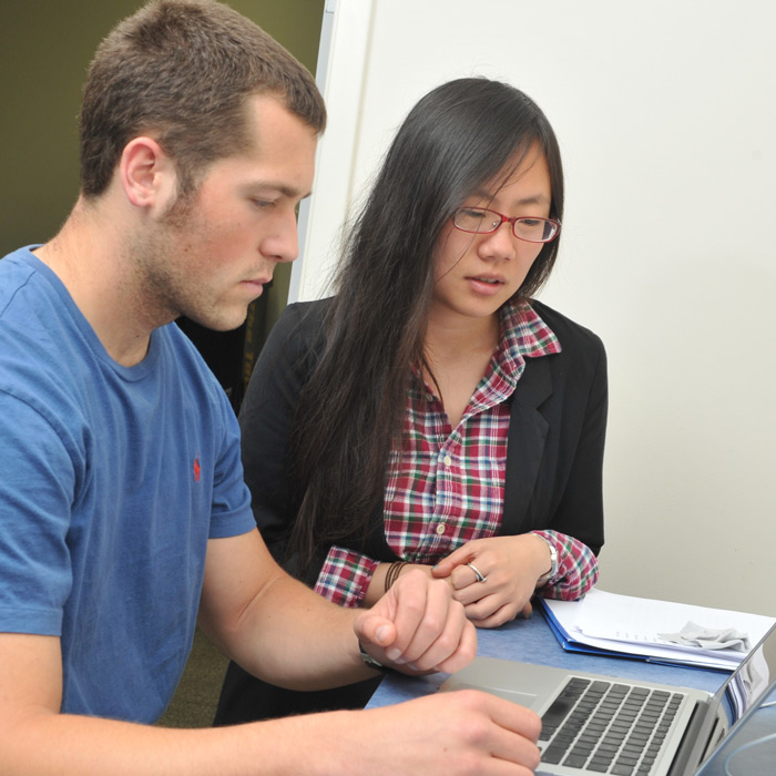 writing consultant helps student with writing assignment