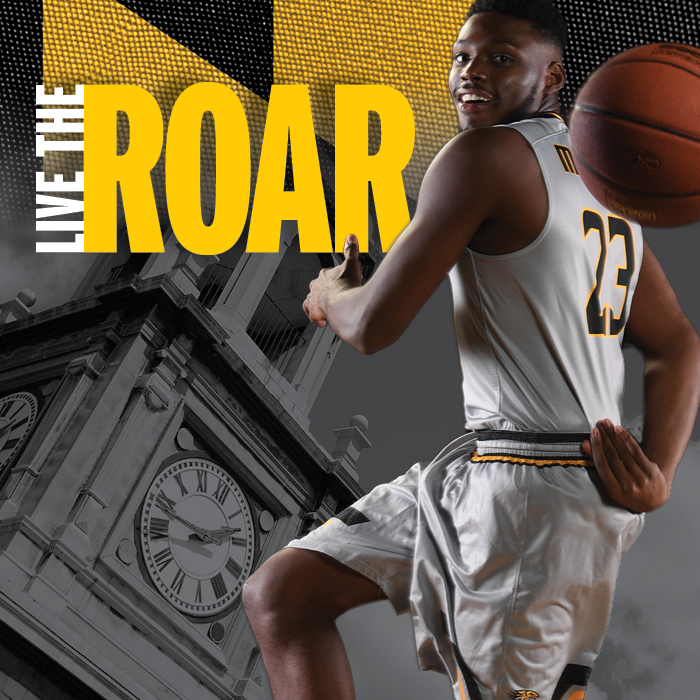 "basketball player, text on the image reads ""Live the Roar"""