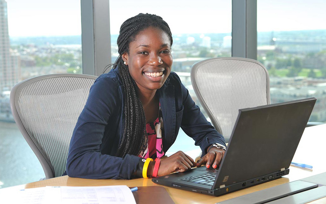 Towson University College of Business and Economics student at her internship in Baltimore