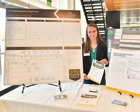 Megan price presenting her research at a table