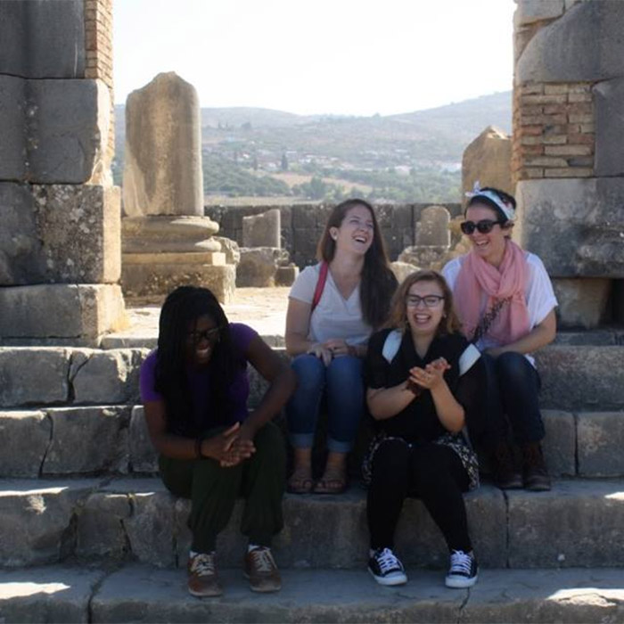 Chenise Calhoun on a guided tour of the ancient Roman city in Volubilis, Morocco