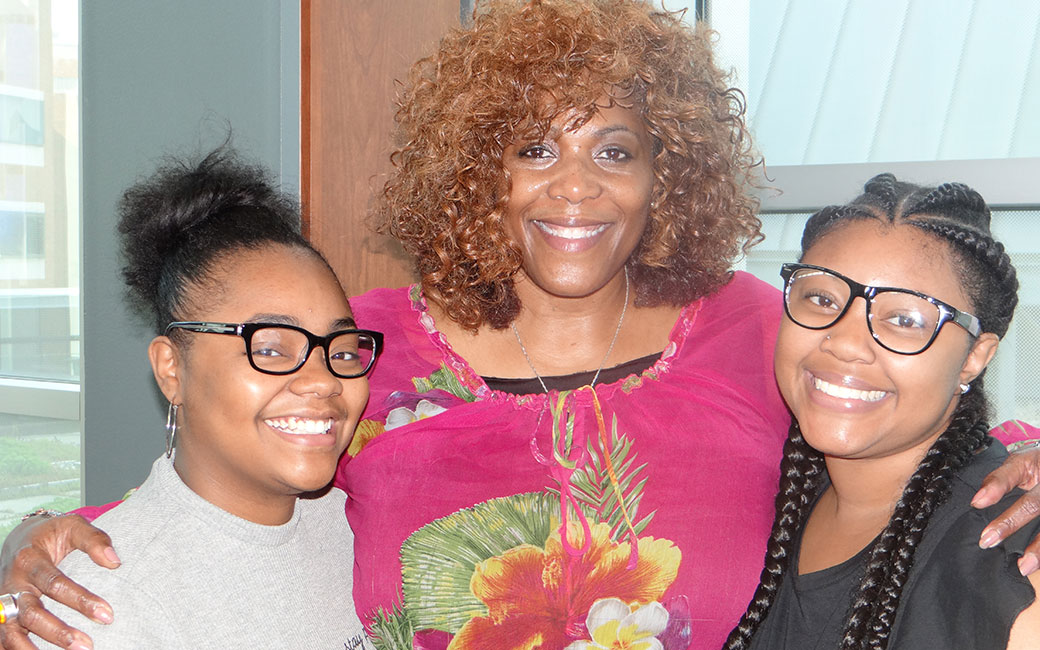 Dr. Jones-Eversley and two students