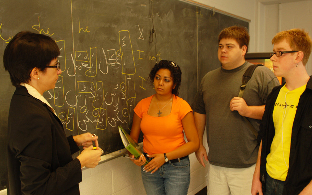 students and professor in Arabic class