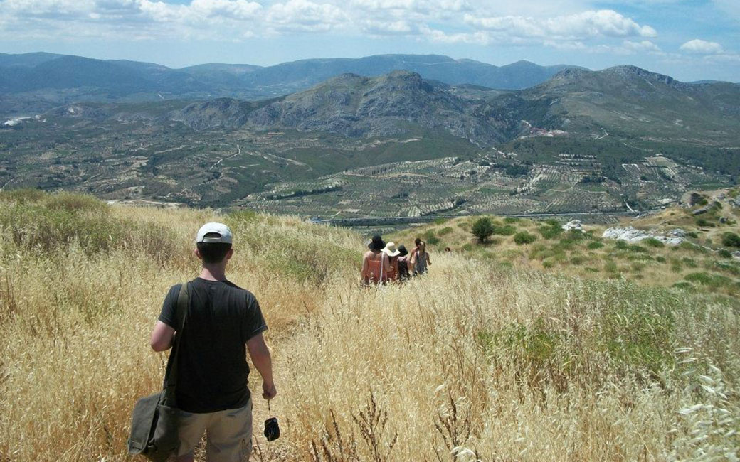 students hiking while studying abroad