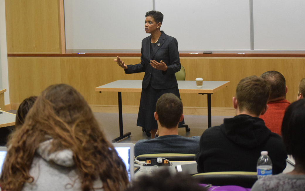 Congresswoman Donna Edwards (D-MD) addresses Towson political science students