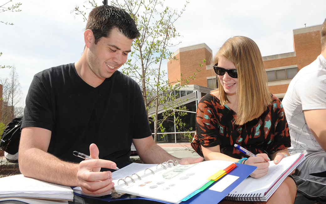 Special Education Students Studying outside Hawkins Hall