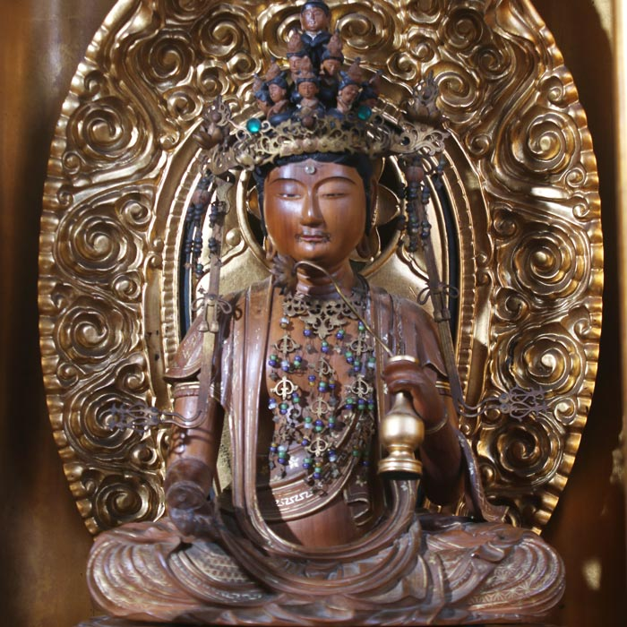 Detail of a 19th century Japanese House Shrine with Meditating Kannon Bosatsu, from the Asian Arts and Culture Center's Permanent Collection.
