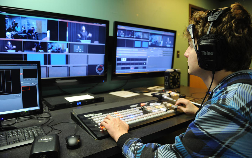 EMF Student Editing in TV Studio