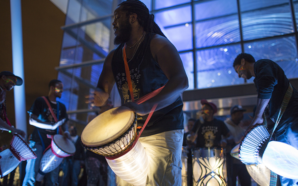 Collaborator David Fakunle performing on the kinetic light drums during Light City 2016.