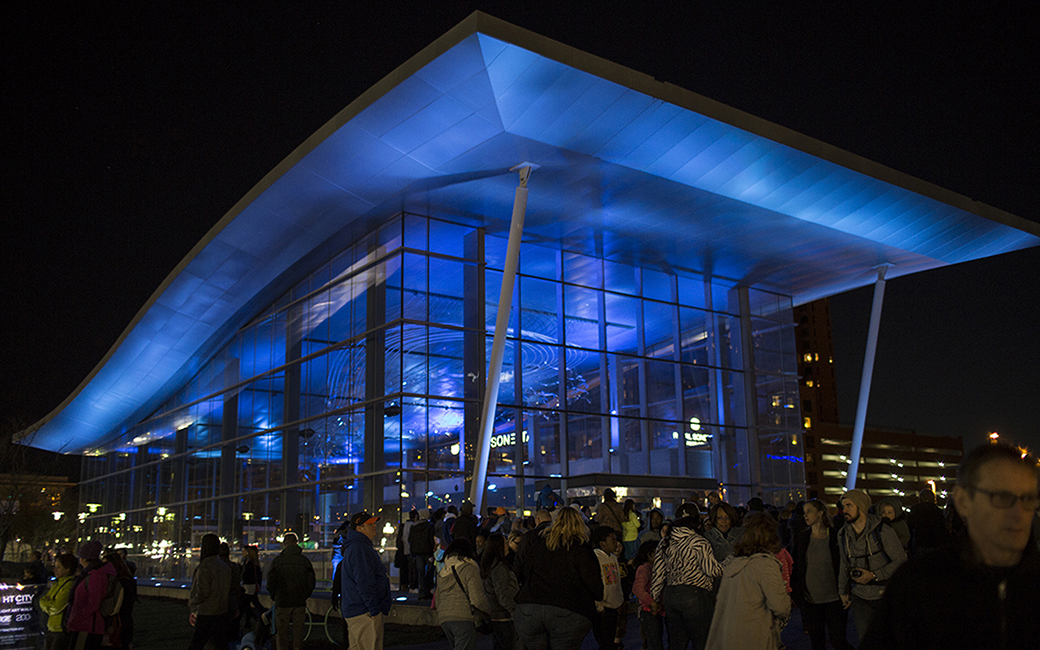 The Baltimore Visitor Center illuminated with dynamic light during Light City 2016.