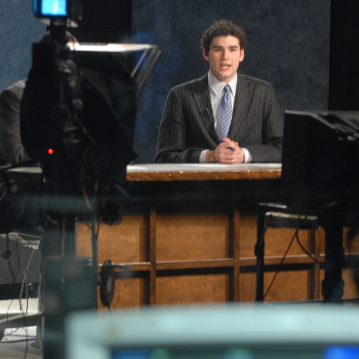 Mass communication student in video lab