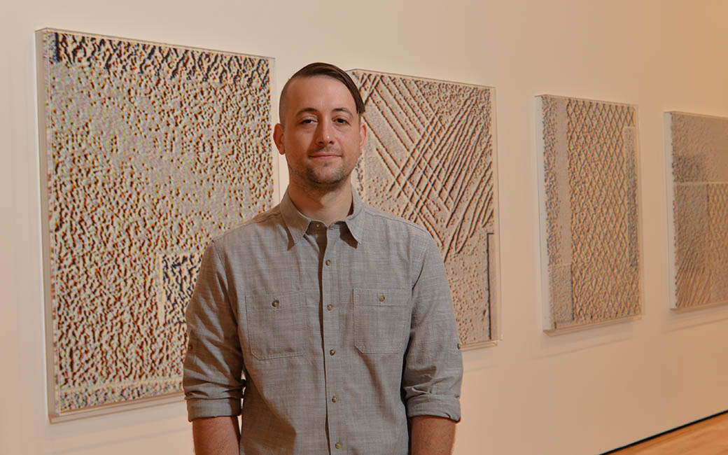 Seth Adelsberger with his work on display at Baltimore Museum of Art th his work