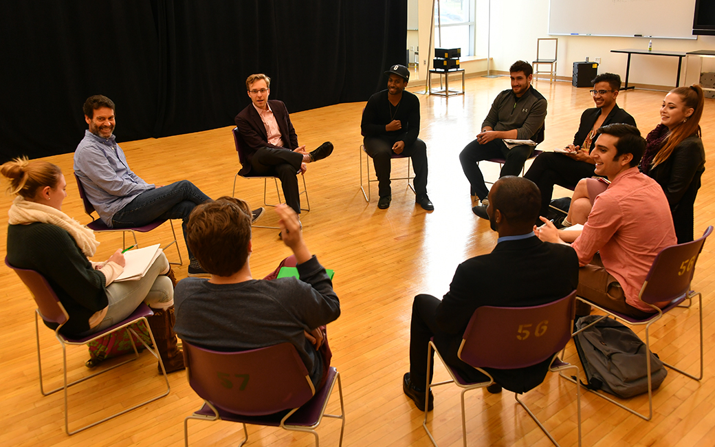 The Acting Company working with TU Students in a classroom