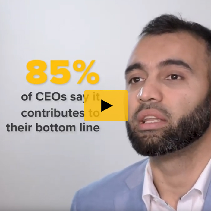 Faizan Imtiaz, assistant professor of organizational psychology at Towson University, headshot with copy that reads, 85% of CEOs say it contributes to their bottom line