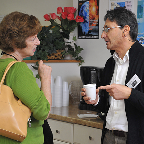 Osher members talking over coffee