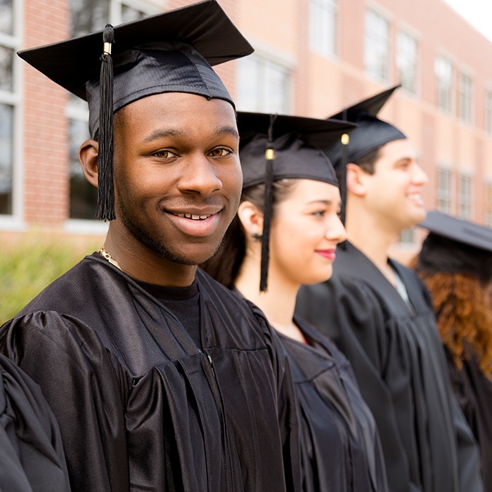 african american male with graduation cap on his head