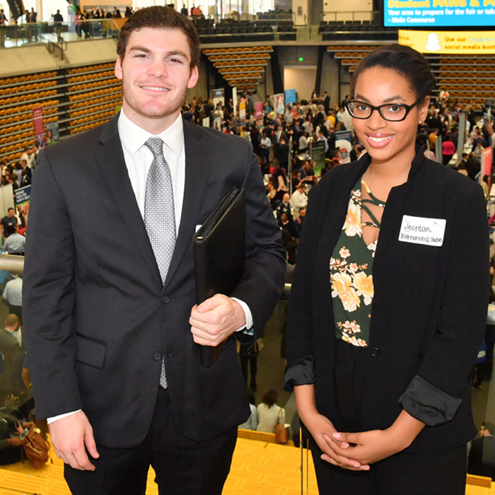 Two students at a networking event