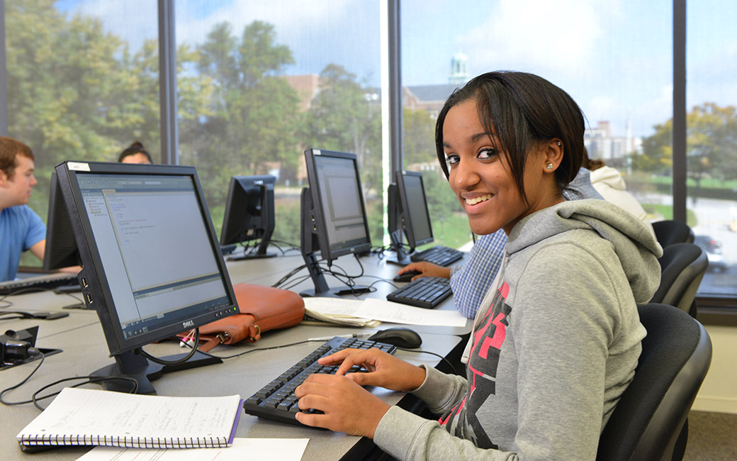 TU student using a computer