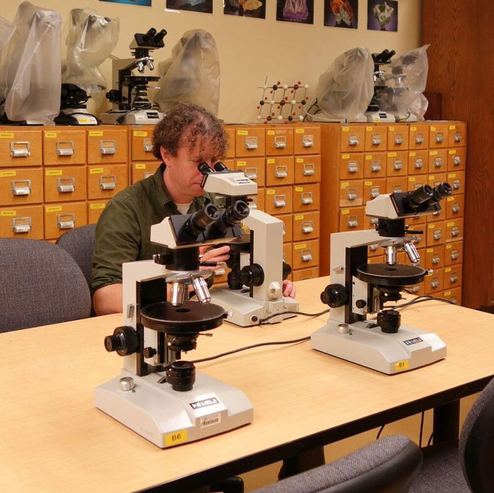 in the microscope lab