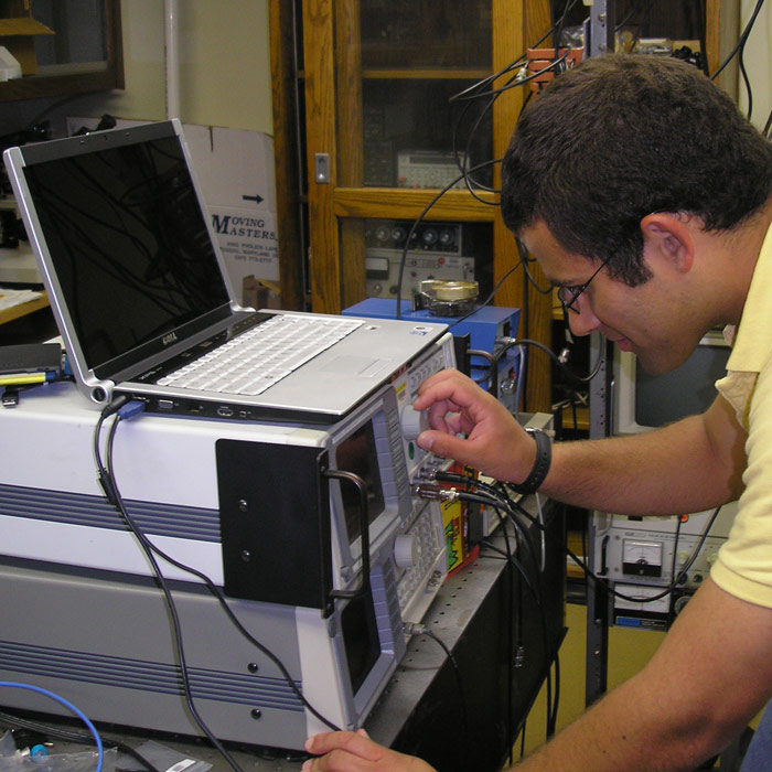 student at work in lab