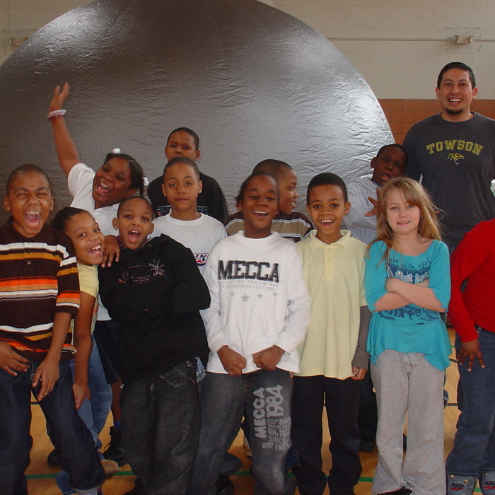 portable planetarium at a school
